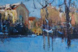 LEIPZIG IM WINTER 2009, Öl auf Jute, 60 x 70