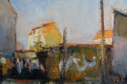 MAUERN UND LICHT 2016, Öl auf Jute, 50 x 60